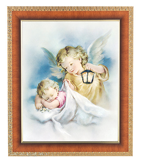 Guardian Angel With Lantern In Cherry Frame 8X10 Print