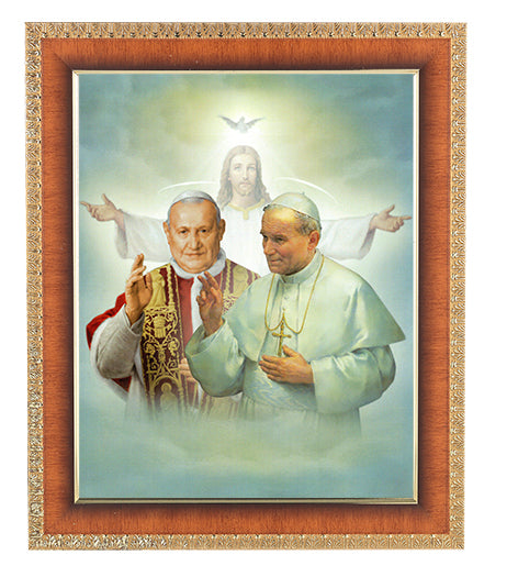 Sts. John XXIII and John Paul II Cherry Frame 10.25X12.25-inch 8X10Prt
