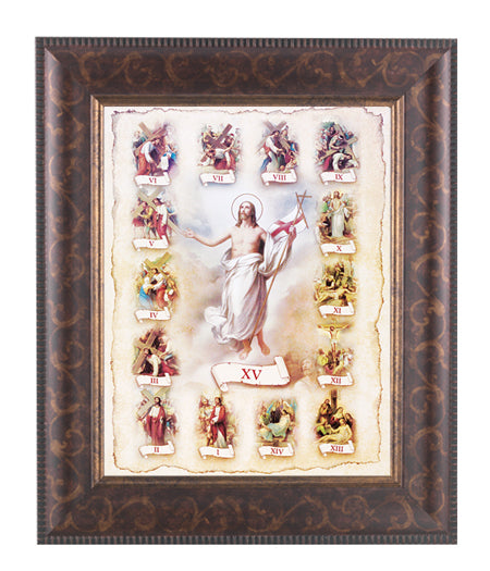 Stations Of The Cross In Arat Deco Frame 10.25X12.25-inch 8X10 Print