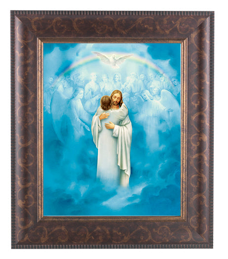 Christ Welcoming Home with Artdeco Frame 10.25X12.25-inch 8X10 Print