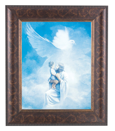 Christ Welcoming Child Art Deco Frame 10.25X12.25-inch 8X10 Print