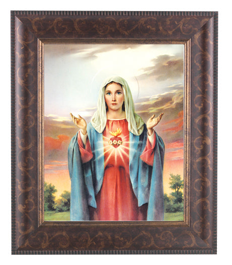 Immaculate Heart Of Mary In Art Deco Frame 10.25X12.25 8X10