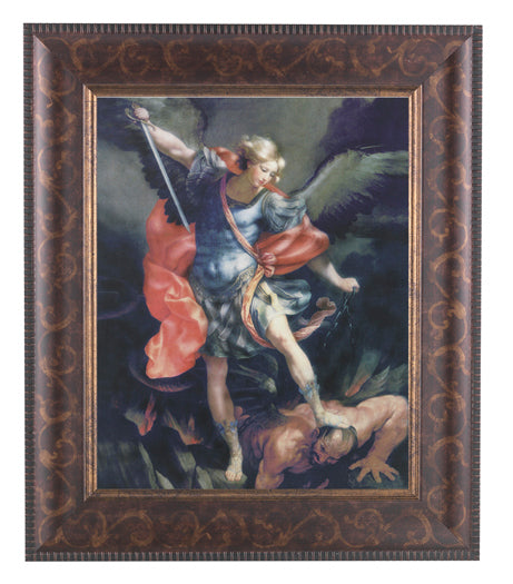 Saint Michael In Art Deco Frame 10.25X12.25-inch 8X10 Print