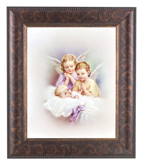 Guardian Angels In Art Deco Frame 10.25X12.25-inch 8X10 Print