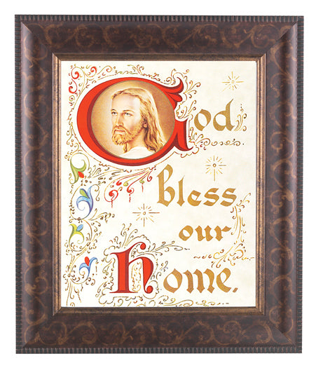 House Blessing-Christ Art Deco Frame 8X10 Print