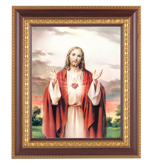 Sacred Heart In Cherry with Gold Frame 10.25X12.25-inch 8X10 Print