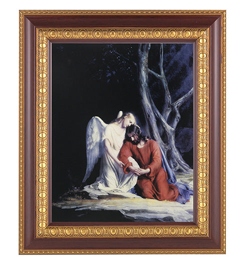 Christ With Angel In Cherry Frame 10.25X12.25-inch 8X10 Print