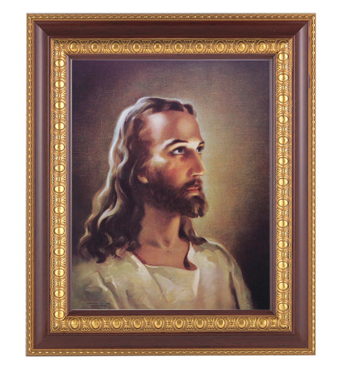 Head Of Christ In Cherry Frame 10.25X12.25-inch 8X10 Print