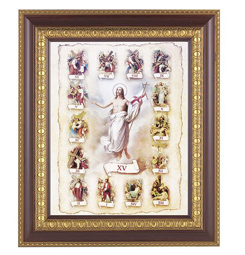 Stations Of The Cross In Cherry Frame 10.25X12.25-inch 8X10 Print