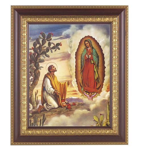Our Lady Of Guadalupe with Juan Diego Cherry Frame 10.25X12.25-inch 8X10Prt