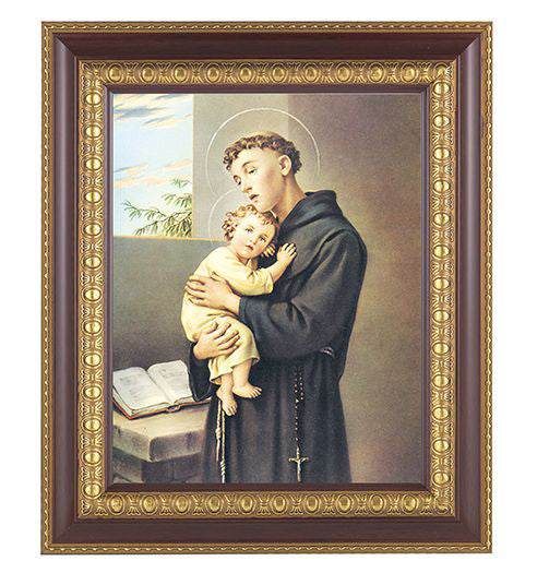 Saint Anthony In Cherry Frame 10.25X12.25-inch 8X10 Print