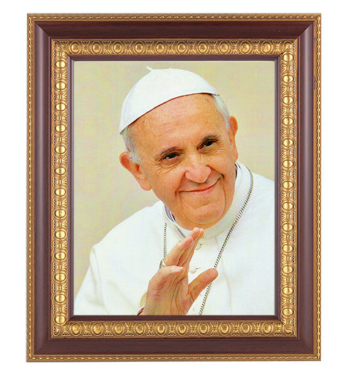 Pope Francis In Cherry Frame 10.25X12.25-inch 8X10 Print