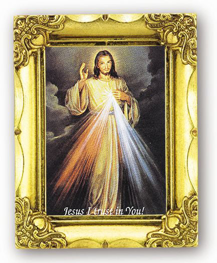 Divine Mercy 4.5-inchX3.5-inch Antique Gold Frame