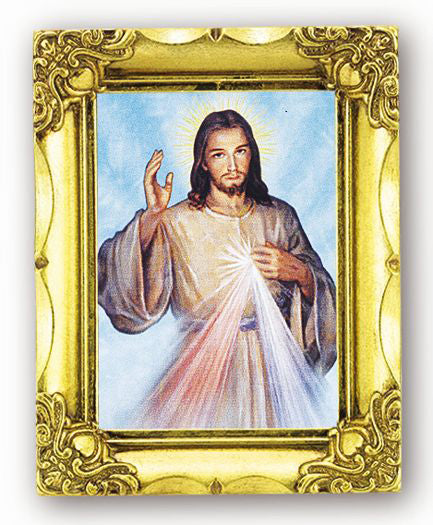 Divine Mercy Bust 4.5-inchX3.5-inch Antique Gold Frame
