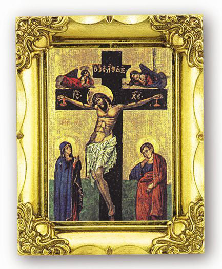 Crucifixion Icon 4.5-inchX3.5-inch Antique Gold Frame