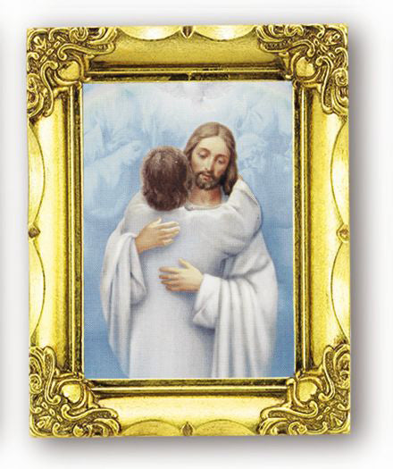 Christ Welcoming Home 4.5-inchX3.5-inch Antique Gold Frame