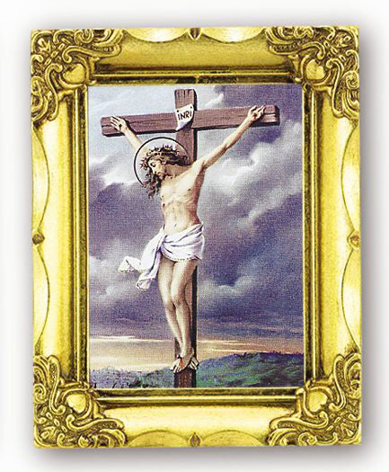 Crucifixion 4.5-inchX3.5-inch Antique Gold Frame