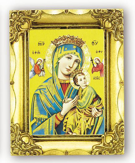 Our Lady Of Perpetual Help 4.5-inchX3.5 Antique Gold Frame