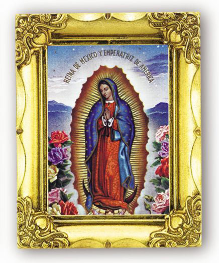 Our Lady Of Guadalupe with Roses 4.5-inchX3.5 Antique Gold Frame