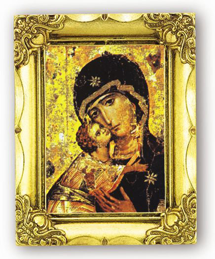 Our Lady Of Vladimir 4.5-inchX3.5-inch Antique Gold Frame