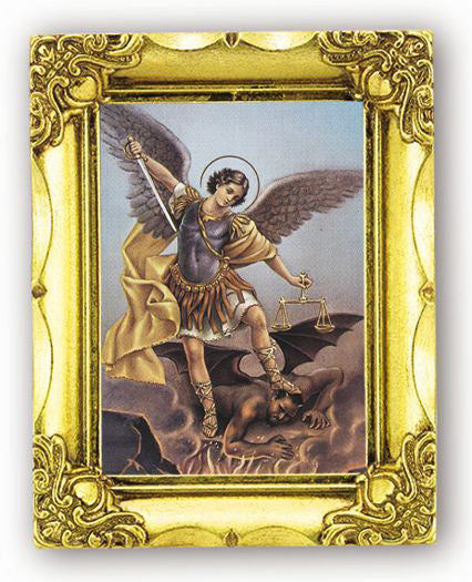 Saint Michael 4.5-inchX3.5-inch Antique Gold Frame