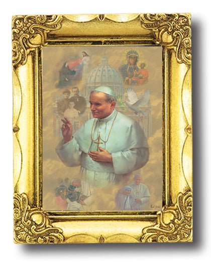 Saint John Paul II 4.5X3.5 Antique Gold Frame