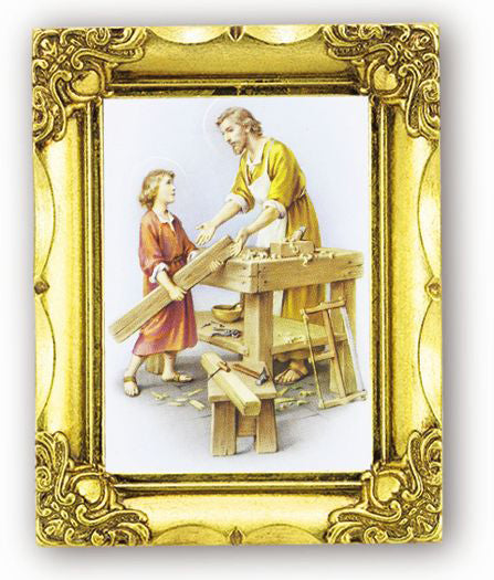 Saint Joseph The Worker 4.5-inchX3.5-inch Antique Gold Frame