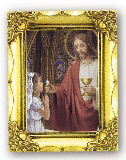 Communion Girl 4.5-inchX3.5-inch Antique Gold Frame