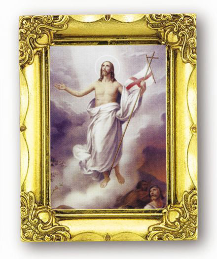 The Risen Christ 4.5-inchX3.5-inchAnt Gold Frame