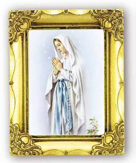 Our Lady Of Lourdes 4.5-inchX3.5-inch Antique Gold Frame
