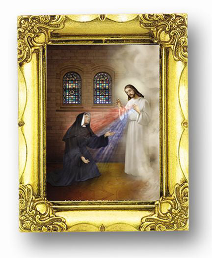 Saint Faustina with Mercy 4.5-inchX3.5-inch 4.5-inchX3.5-inchAnt Gold Frame