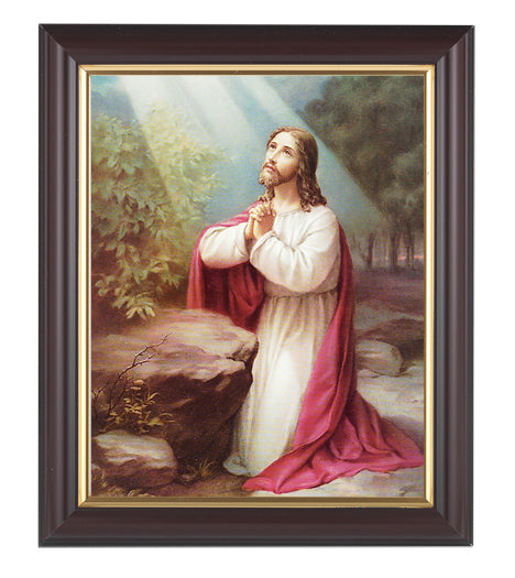 Christ On Mt. Olive In Walnut Frame 10.25X12.25-inch 8X10 Print