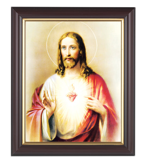 Sacred Heart In Walnut Frame 10.25X12.25-inch 8X10 Print