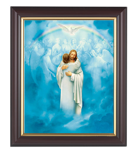 Christ Welcoming Home In Walnut Frame 10.25X12.25-inch 8X10 Print