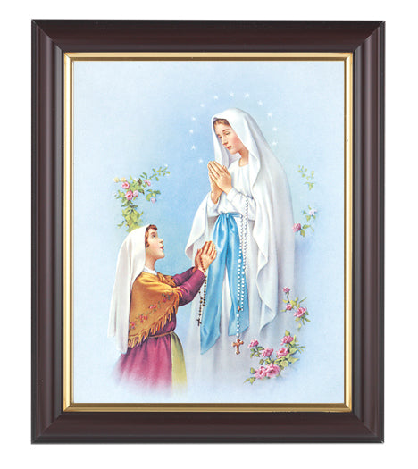 Our Lady Lourdes In Walnut Frame 10.25X12.25-inch 8X10 Print