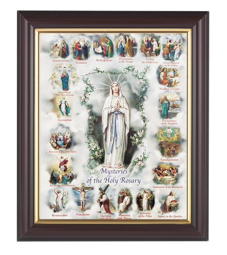 Mysteries Of The Rosary Walnut Frame 10.25X12.25-inch 8X10 Print