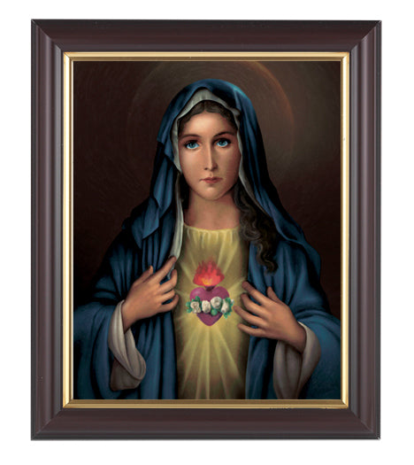 Immaculate Heart Of Mary 8X10 Walnut Frame 10.25X12.25-inch