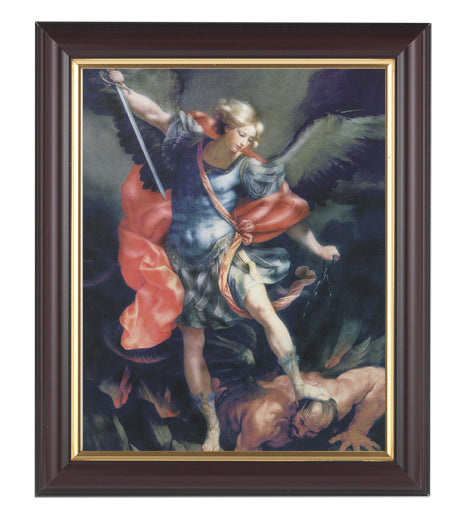 Saint Michael In Walnut Frame 10.25X12.25-inch 8X10 Print