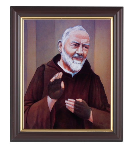 Saint Pio In Walnut Frame 10.25X12.25-inch 8X10 Print