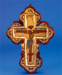 BYZANTINE HAND PAINTED CROSS ON CANVAS
