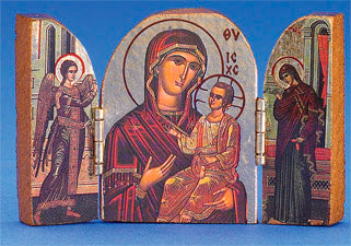 Greek Icon - Triptych- hand-carved- Gold foiled