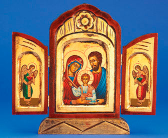 The Holy Family Gold Leaf Triptych- Hand-Carved and Painted