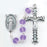 6MM Round Crystal Textured Bead Light Amethyst Rosary