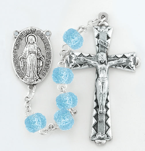 6MM Round Crystal Textured Bead Light Blue Rosary