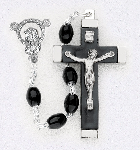 18-inch Oval Bead Black Rosary