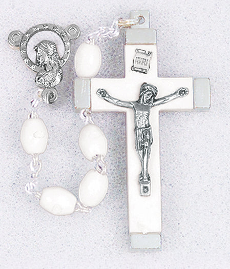 18-inch White Oval Bead Rosary