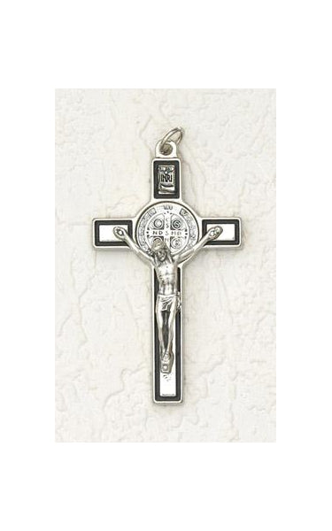 3 inch Saint Benedict Crucifix: Silver and Black with Silver Corpus