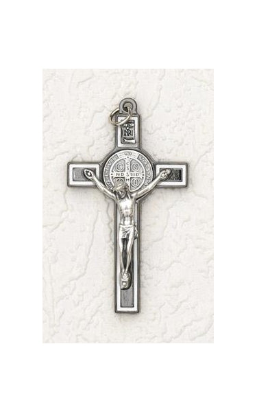 3 inch Saint Benedict Crucifix: Black/White Cross with Silver Corpus
