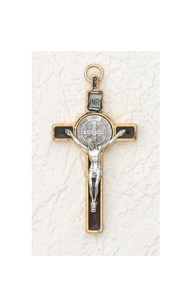 3 inch Saint Benedict Crucifix: Brown and Gold with Silver Corpus