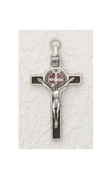 3 inch Enameled Saint Benedict Crucifix with Brown Enamel